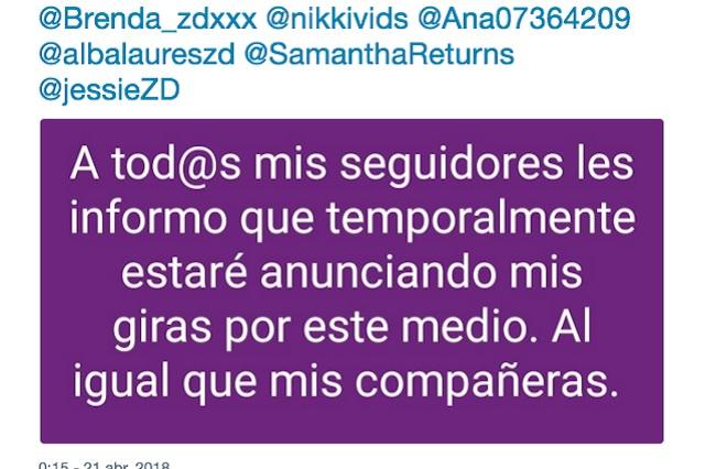 Escorts de Zona Divas se mudan a Twitter y retoman servicios