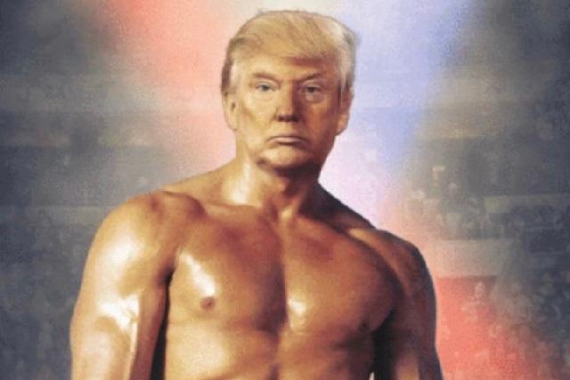 Donald Trump se pone en forma con photoshop y luce como Rocky