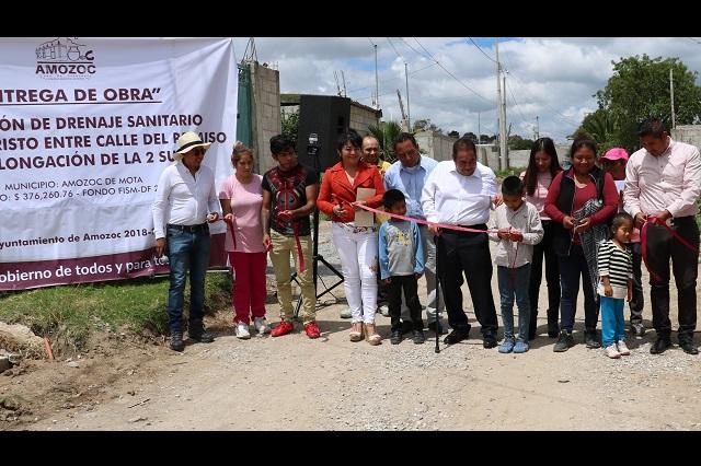 Entregan ampliación de red de drenaje sanitario en Amozoc