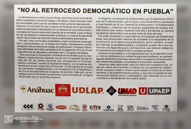 Universidades cuestionan retroceso democrático en Puebla