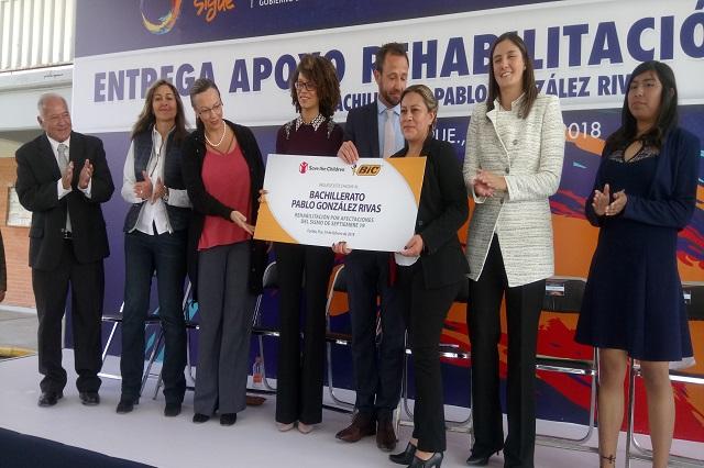 Escuela poblana recibe 850 mp de  BIC México para reconstrucción