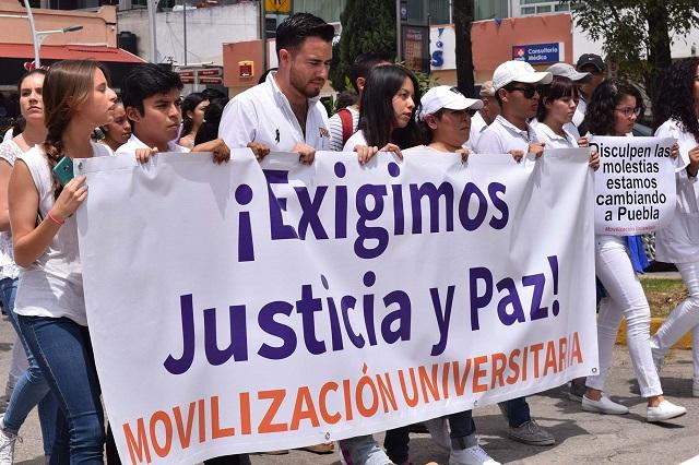 Justicia y Paz exigieron universitarios poblanos