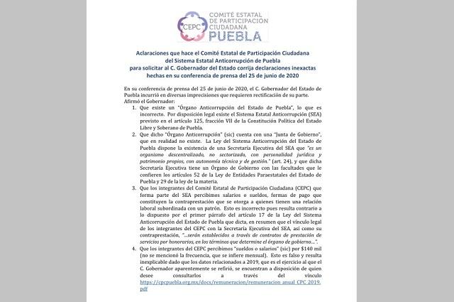 Comité ciudadano del SEA niega acusaciones de Barbosa