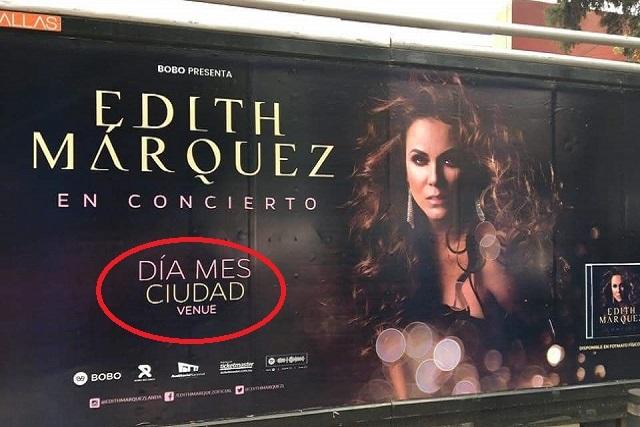 Edith Márquez corrige error en la publicidad de su concierto