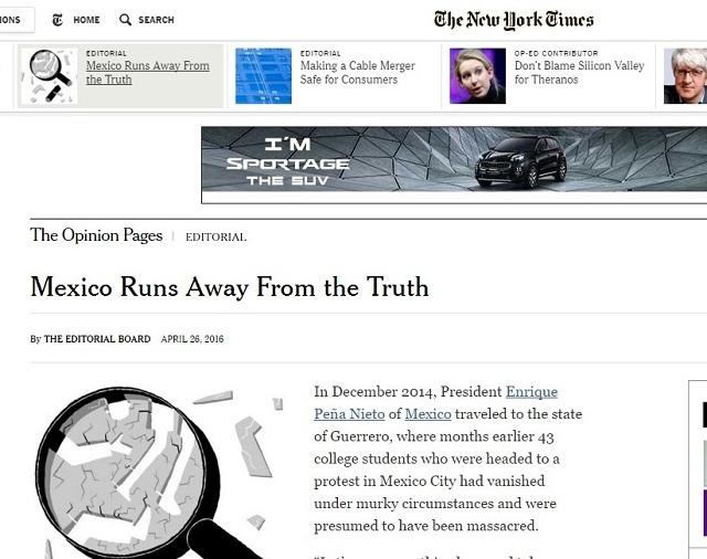 México huye de la verdad de Ayotzinapa, publica The New York Times