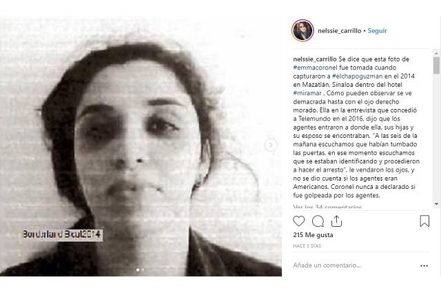 Publican supuesta foto de Emma Coronel durante captura de El Chapo