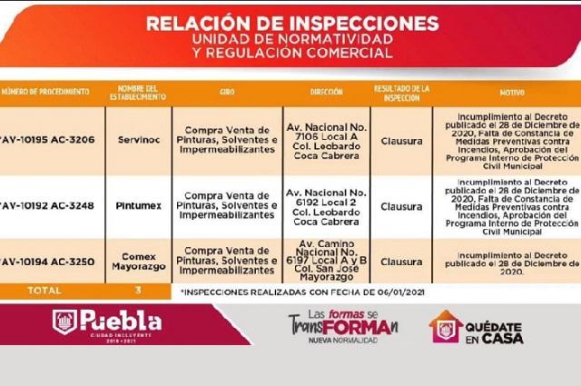 Clausuran empresas en Puebla por violar decreto; destacan Comex y Pintumex