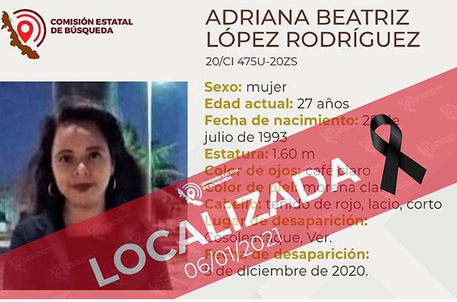 Hallan cadáver de Adriana en una maleta al sur de Veracruz