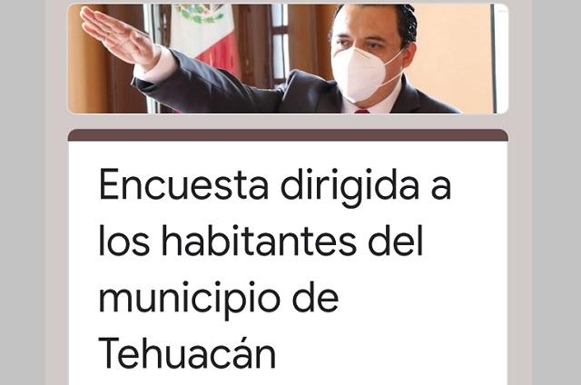 Ayuntamiento se deslinda de encuesta de popularidad de edil de Tehuacán