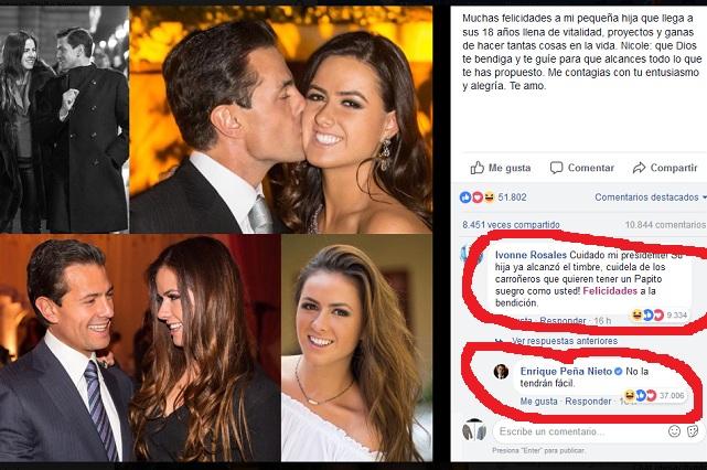 Peña Nieto felicita a su hija en Facebook y un comentario lo incomoda