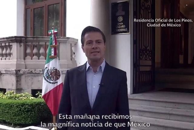 EPN celebra que México sea sede del Mundial de Futbol 2026