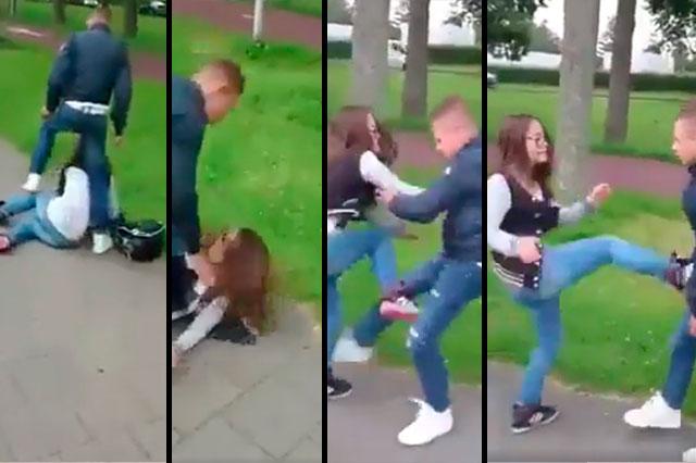 Graban el momento en que un adolescente patea y pisotea a una joven