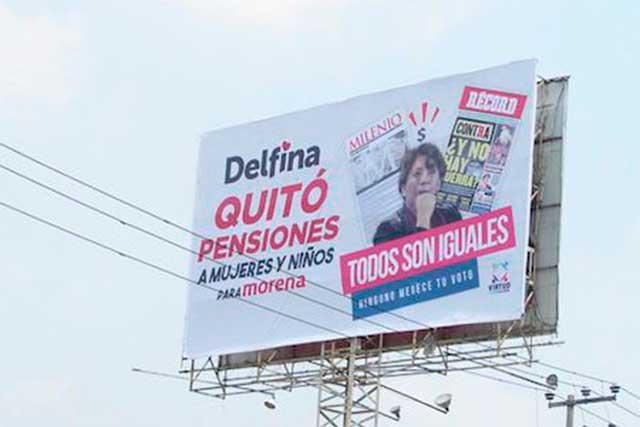 Aparecen espectaculares contra Delfina Gómez en Ecatepec