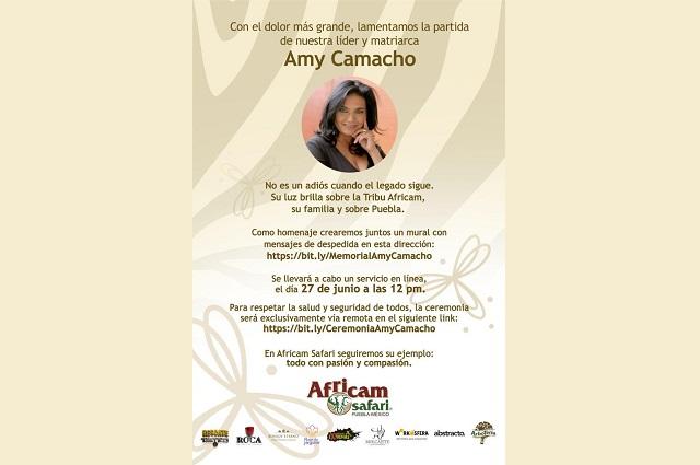 En privado y online, sepelio de Amy Camacho en Africam