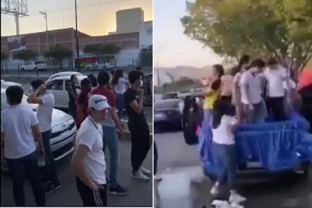 Sin ningún tipo de protección, estudiantes festejan su graduación en la calle