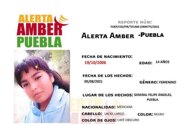 Activan Alerta Amber para localizar en Puebla a menor de 14 años