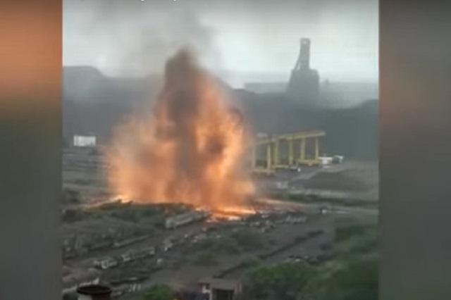 Cámaras graban explosión en empresa acerera en Michoacán
