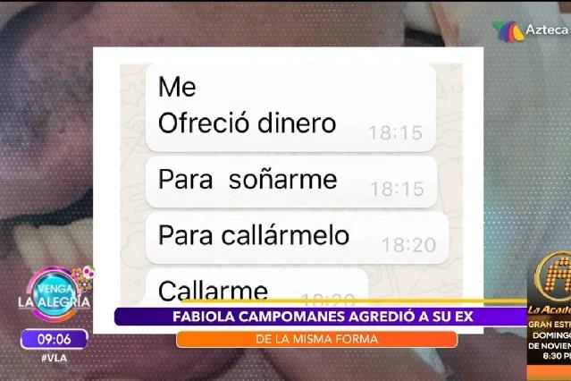 ¿Fabiola Campomanes ofreció dinero a su ex para que no la denunciara?