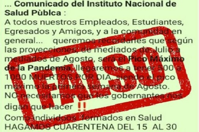 Desmienten Fake News en WhatsApp sobre cuarentena por covid19