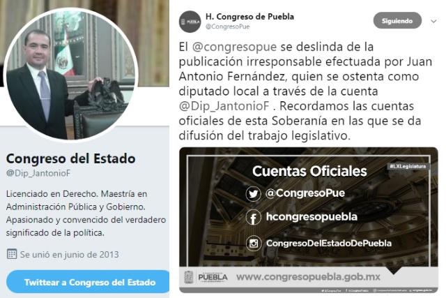 Congreso de Puebla se deslinda de diputado apócrifo