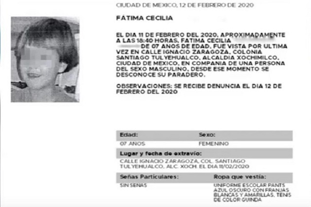 CDMX ofrece 2 mdp por mujer que se llevó a Fátima de la escuela