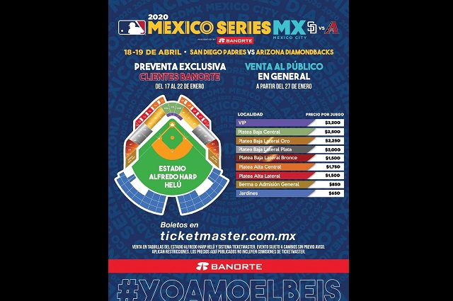 Difunden precios para el juego de Grandes Ligas en México