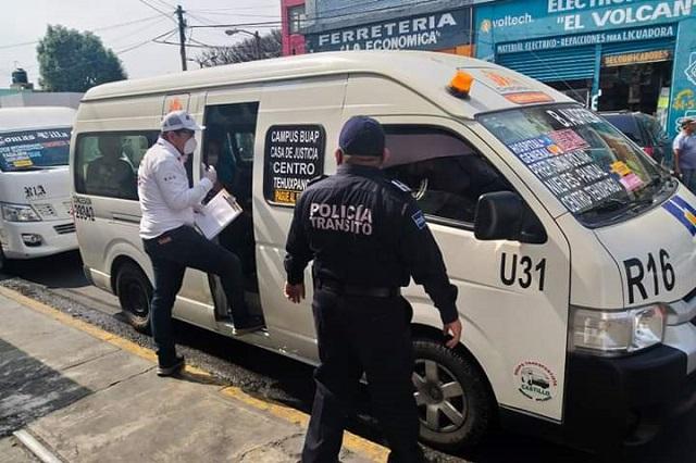 Transportistas de Atlixco cumplen con medidas de prevención
