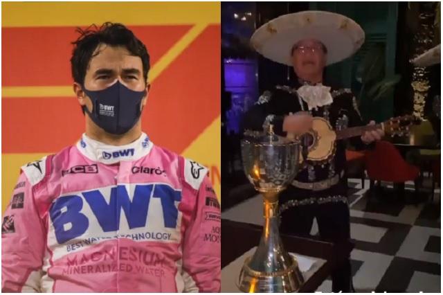 Con todo y mariachi, así festejo 'Checo' Pérez su victoria en Gran Premio de Sakhir