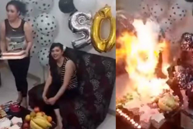 Graban fiesta de cumpleaños que termina con la festejada envuelta en llamas