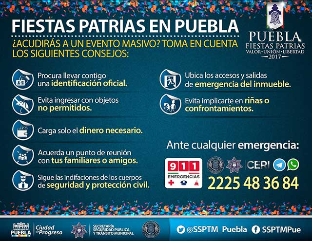 Alistan operativo de seguridad para fiestas patrias en Puebla