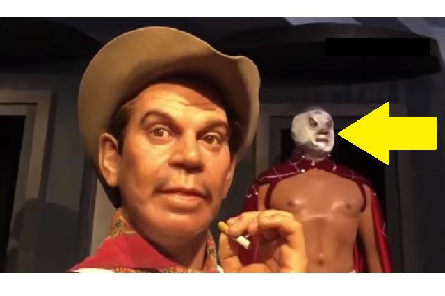 Captan movimiento de la cara de 'El Santo' en Museo de Cera de CDMX