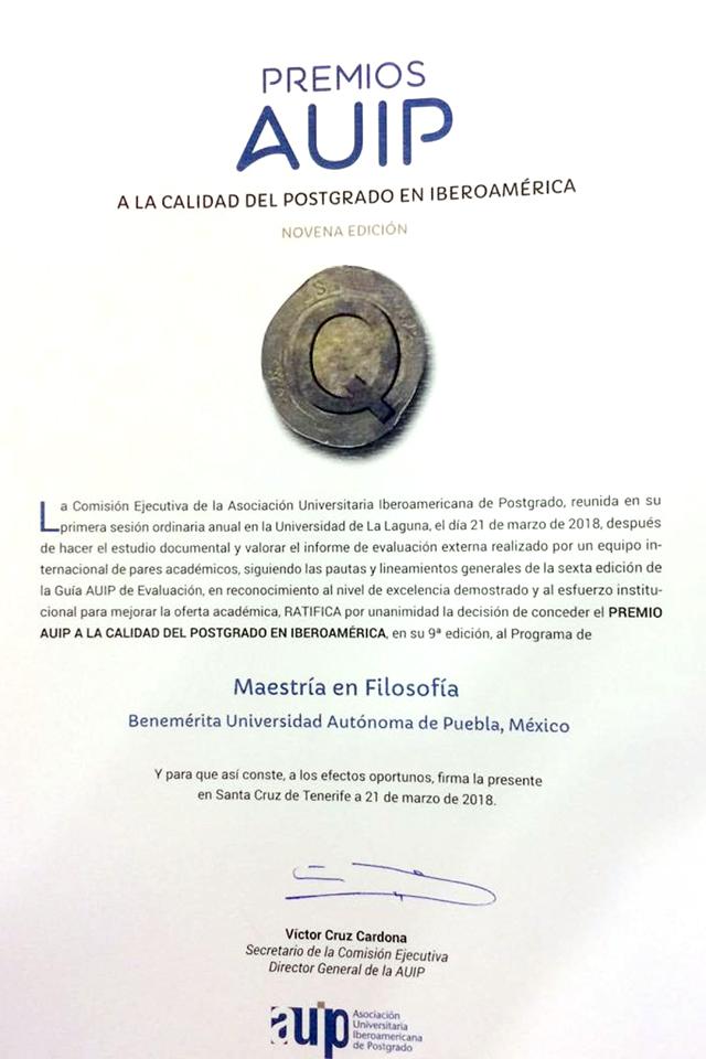 Maestría en Filosofía BUAP gana  Premio a la Calidad del Posgrado