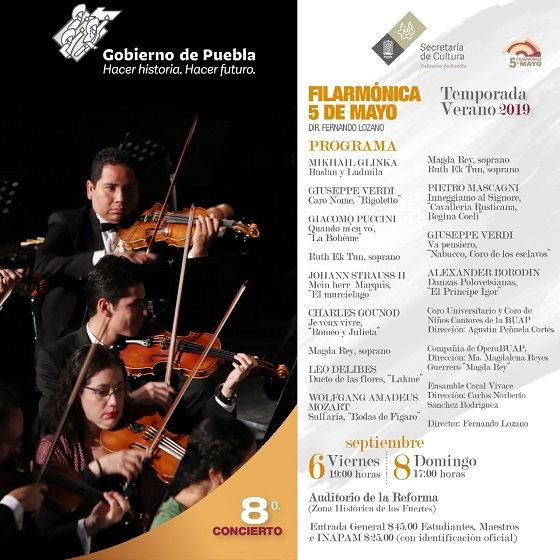 Fin de verano con la Filarmónica 5 de mayo en el Auditorio de la Reforma