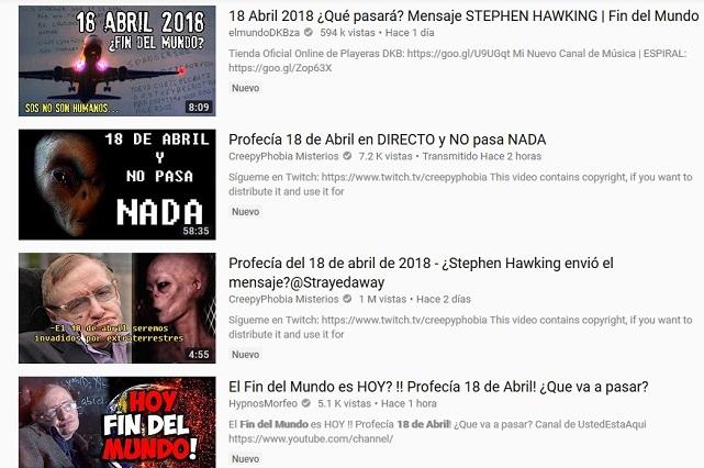 Inundan YouTube con videos del 18 de abril y el fin del mundo: Aquí la razón