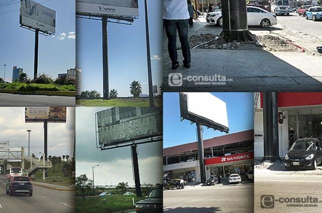 Clausuran 177 espectaculares en Puebla por permisos irregulares