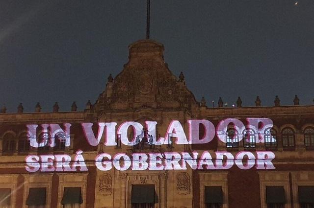 Protestan contra Félix Salgado en la fachada del Palacio Nacional