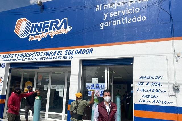 Delegado de Profeco en Puebla supervisa expendios de oxígeno