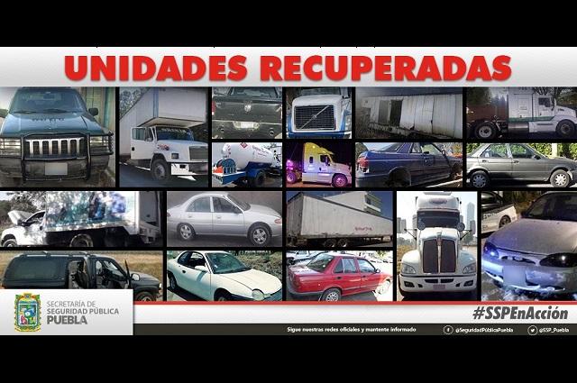 Recupera SSP 18 vehículos con reporte de robo