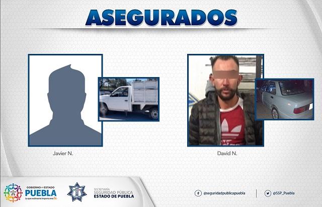 Caen dos personas con vehículos robados en Texmelucan y Victoria