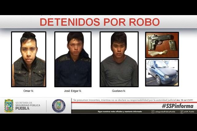 Frustran robo y caen tres hombres armados en Xonacatepec