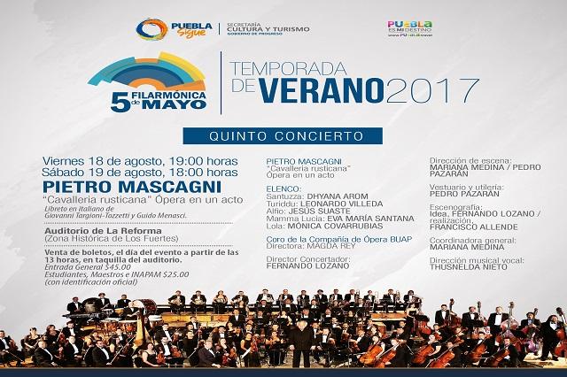 Dos fechas de ópera en temporada de la Filarmónica 5 de mayo