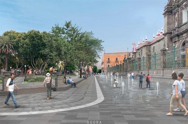 Intervienen zócalo poblano para devolverle diseño histórico