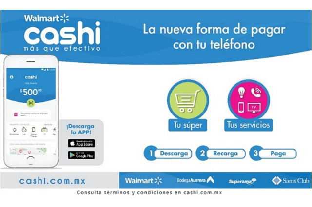 Lanzan en Puebla aplicación Walmart Cashi para pago de servicios