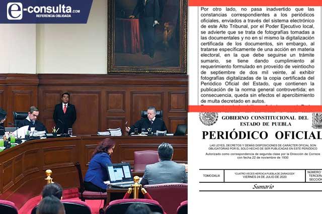 SCJN pide Periódico Oficial de Puebla y gobierno le manda fotos