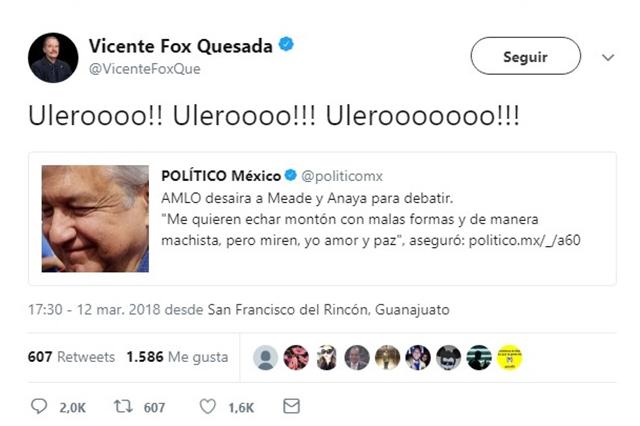Vicente Fox exige que AMLO participe en debates y lo insulta en Twitter