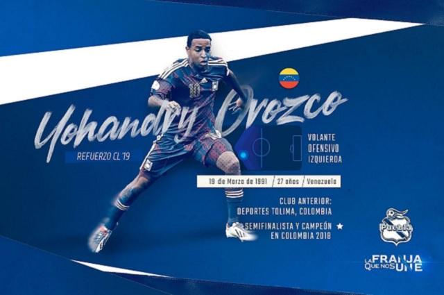 Yohandry Orozco refuerza la ofensiva del Club Puebla