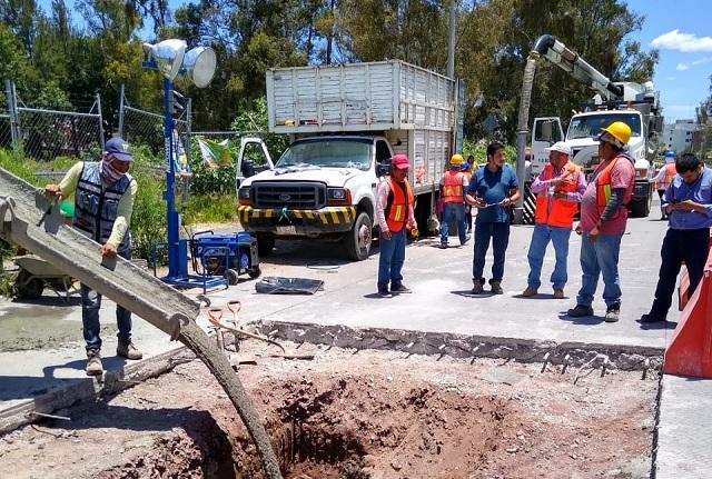 Agua de Puebla repara 12 fugas y colapsos en concreto hidráulico