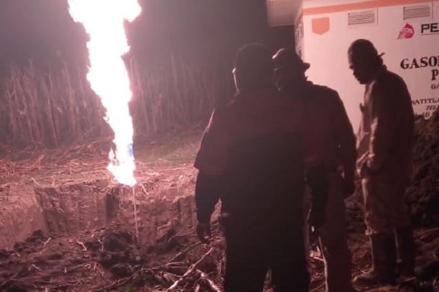 Se incendia fuga de gas LP en límites de Puebla y Tlaxcala