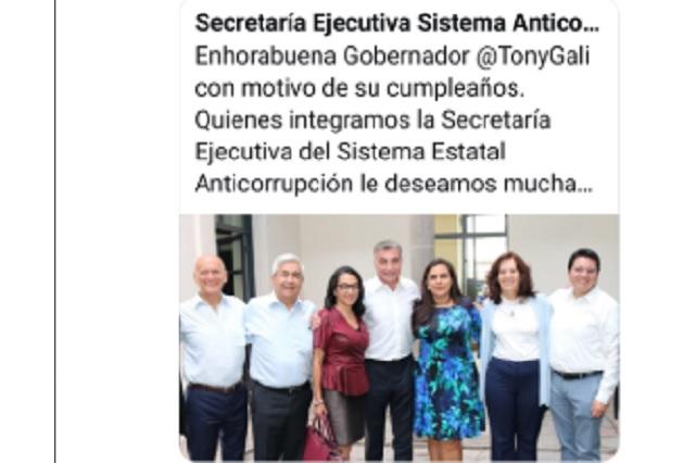 Felicitan a Gali usando cuenta del Sistema Anticorrupción