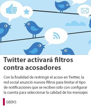 Twitter activará filtros contra acosadores